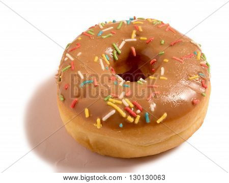 glazed donut with sprinkles isolated on white background