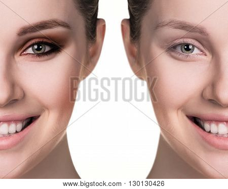 Comparative portrait of female face, without and with makeup