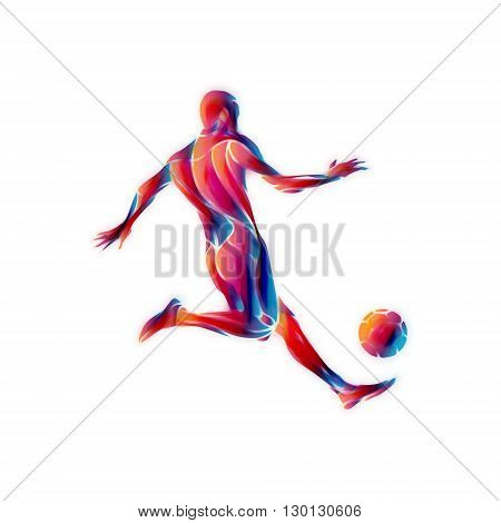 Soccer player kicks the ball. The colorful waves abstract illustration on white background.