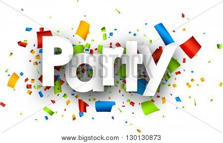 Party paper background with color confetti. Vector illustration.