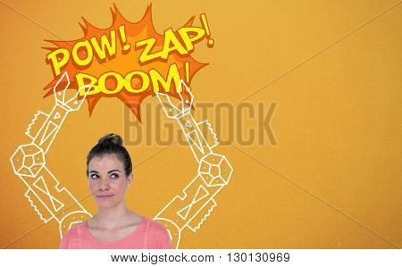 Beautiful woman looking sideways against digital drawing of mechanics