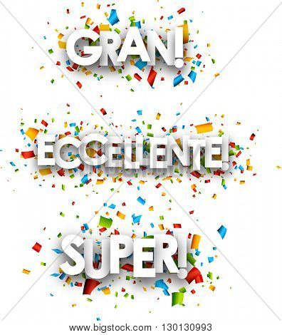 White super paper banners set, Spanish, Italian. Vector illustration.