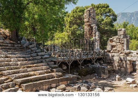 Ancient theatre in Antique city of Phaselis, Antalya Destrict, Turkey in the spring