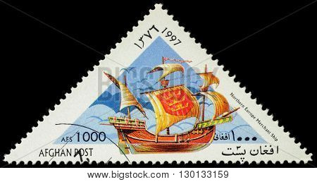 MOSCOW RUSSIA - MAY 17 2016: A stamp printed in Afghanistan shows image of ancient Northern merchant ship series