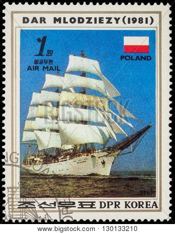 MOSCOW RUSSIA - MAY 17 2016: A stamp printed in DPRK (North Korea) shows image of Polish sail training ship