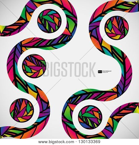 Abstract background with colorful mosaic design wave lines.