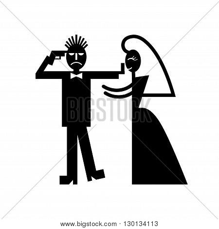 Wedding couple pictogram bride whips groom icons