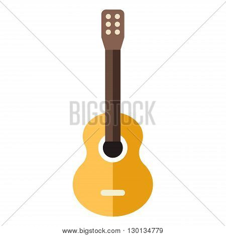 Acoustic classic guitar. Flat style vector illustration isolated on white background