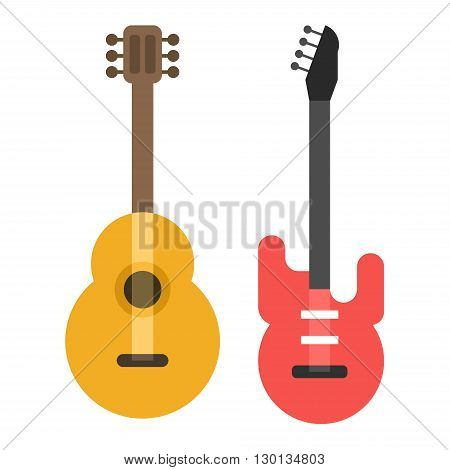 Acoustic classic and electric guitar. Flat style vector illustration isolated on white background