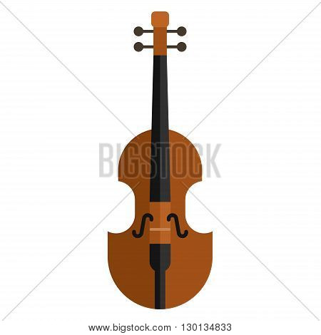 Classical violin. Isolated musical instrument on white background. Vector illustration in flat style design