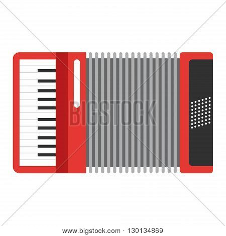 Classic red accordion icon. Musiacal instrument. Flat style vector illustration