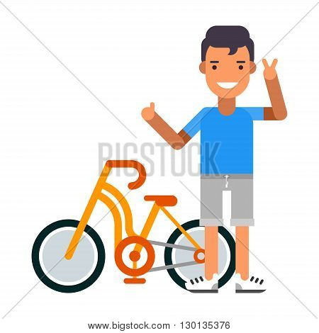 Cyclist with bicycle. Healthy lifestyle. Flat vector illustration. People occupation character