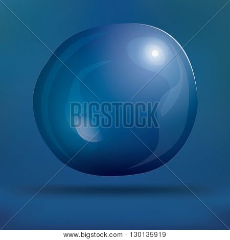 Transparent Soap Bubble on Blue Background. Vector Illustration. Water Bubble on Blur Background with Shadow and Copy Space