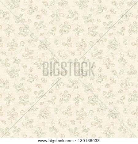Autumn leaves background - light yellow leaves pattern. Vector seamless pattern with simple herb branches hand drawn vector illustration. Seamless floral background on light yellow.