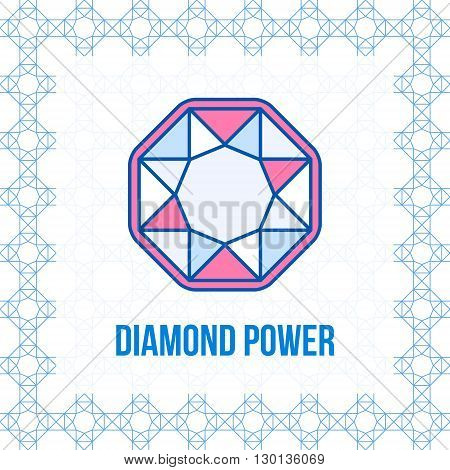Diamond outline icon minimal flat design style. Gem vector illustration. Jewelry line symbol. Matching seamless abstract pattern on background added.