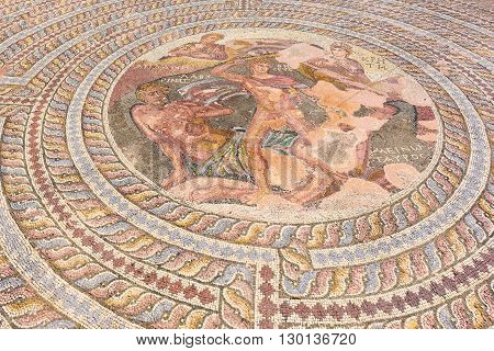 Ancient Greek mosaic in Cyprus - Kato Paphos archeological park