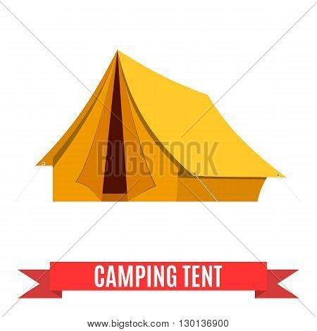 Camping tent vector icon. Tourist hiking equipment isolated on white background. yellow color cartoon tent pictogram.  Flat design vector illustration