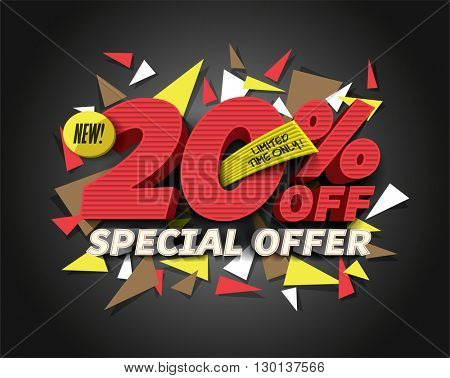 Sale 20% off with abstract triangle elements. Sale background. Special Offer. Sale poster. Sale vector. Vector illustration.