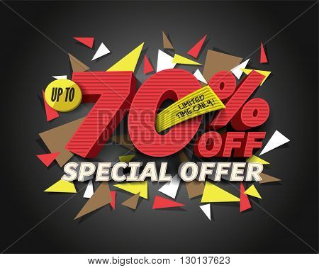 Sale 70% off with abstract triangle elements. Sale background. Special Offer. Sale poster. Sale vector. Vector illustration.
