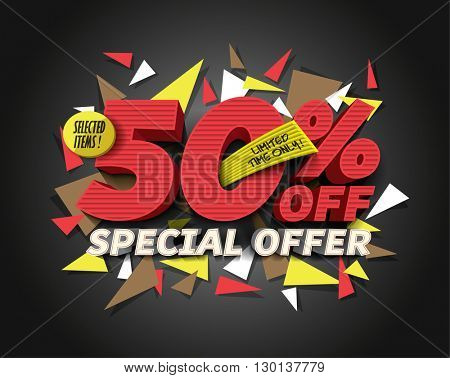 Sale 50% off with abstract triangle elements. Sale background. Special Offer. Sale poster. Sale vector. Vector illustration.