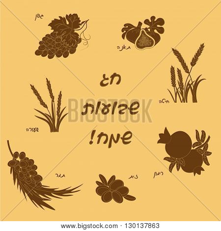 Seven Species of the Shavuot, set of agricultural products with inscription on Jewish holiday. Vector illustration EPS 10