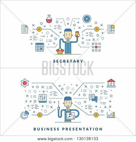 Secretary. Business presentation. Flat line icons and businessman cartoon character. Business concept. Vector thin line illustration for website banner template or header