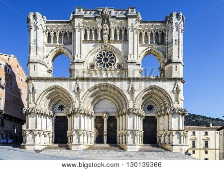 View of the Gothic cathedral in Cuenca Spain