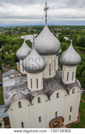 Vologda, Russia - May 26: This is Saint Sophia Cathedral of the 16th century against the backdrop of a severe gray sky of the Russian North May 26, 2013 in Vologda, Russia.