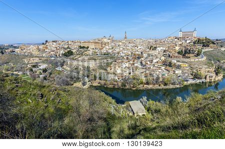 Panoramic view of the historic city of Toledo with river Tajo in Castile La Mancha Spain
