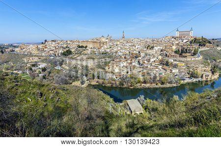 Panoramic view of the historic city of Toledo with river Tajo in Castile La Mancha Spain