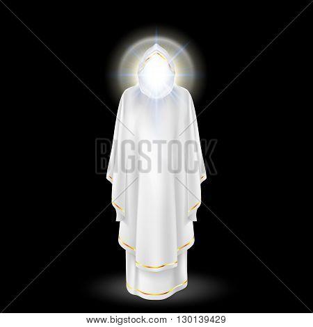 White angel archangel with nimbus under head