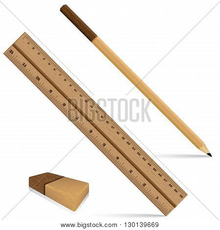 Pencil ruler and eraser on a wooden design. Ruler and pencil with eraser for wooden texture isolated on white background. Object tool.