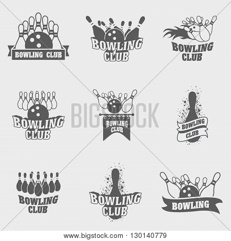 Set Of Nine Vector Bowling Logos, Symbols And Badges Template With Ball And Pins.