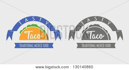 Traditional Mexican Food Tasty Taco. Vector Logo Template Or Concept. Can Be Used To Design Menu, Bu