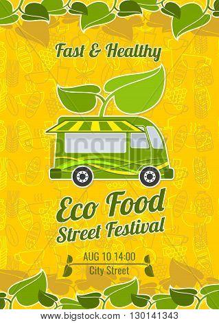 Street food festival vintage vector poster. Banner food festival and poster festival food illustration