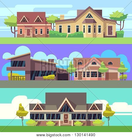 Vector horizontal banners set with residential houses. Building house or home, banner with architecture house illustration