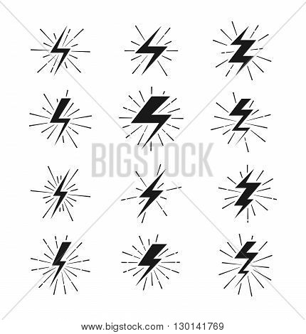 Retro lightning bolt signs with sunburst effect. Lightning sign set and electric lightning thunder. Vector illustration