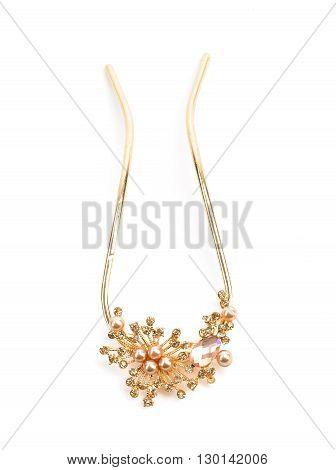 elegant golden  necklace isolated on white background