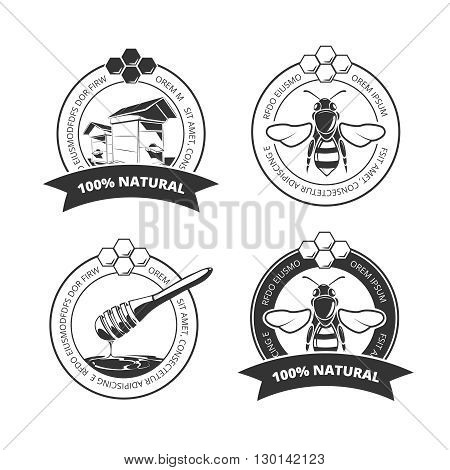 Vintage honey and bee vector labels, badges, emblems, logos set. Sweet honey emblem and organic honey farm label illustration