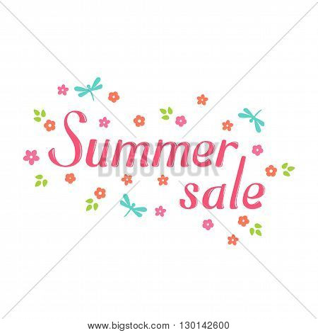 Summer sale vector lettering and flower. Summer sale lettering isolated on white background. Summer sale text  and floral vector illustration. Summer sale word and flowers. Season greeting poster