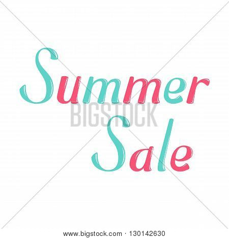 Summer sale vector lettering. Summer sale lettering isolated on white background. Summer sale text vector illustration. Summer sale word. Season greeting poster