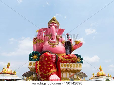 Pink Ganesha Statue at Prong Arkad Temple, Chachoengsao Province, Thailand