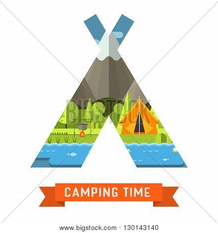 Mountain lake campsite place in tourist tent shape. Forest hiking travel landscape in concept tepee contour. Summer camp postcard vector illustration. Love camping time adventure invitation template isolated.