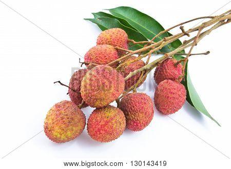 Fresh ripe lychees isolated on white background