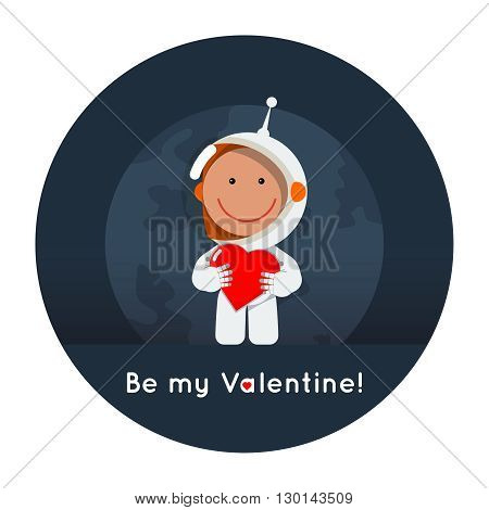 Cute flat style astronaut with heart in his hands. Gretting card eps for valentine's day as cosmic love sign. Space vector illustration ai
