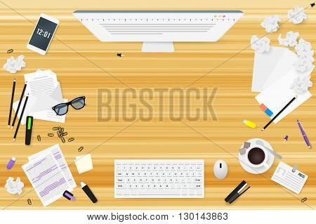 Copywriter work desktop top view with wooden texture. Letters glasses a Cup of coffee notes badge pencils stapler staples highlighter eraser phone sheet of paper a stick crumpled paper sketches.
