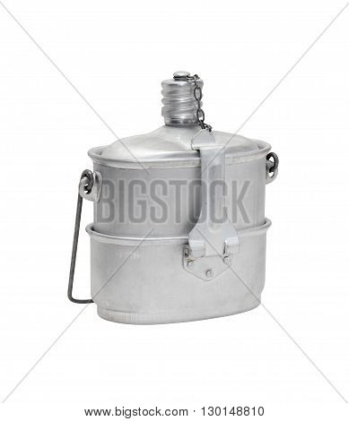 Old aluminum flask on white background. Isolated with clipping path