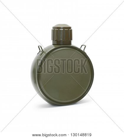 Modern hiking metal flask on white background. Clipping path is included