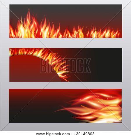 illustration of set of fire flame banner.
