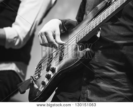 Bass Guitar Player, Closeup Photo